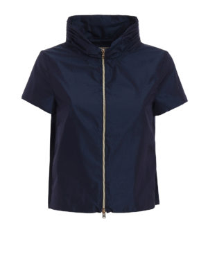 Herno: casual jackets - Short sleeves blue nylon jacket
