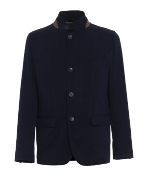 Herno: casual jackets - Water repellent blue wool jacket