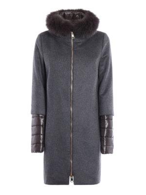 Herno: knee length coats - Fox fur trim cashmere double coat