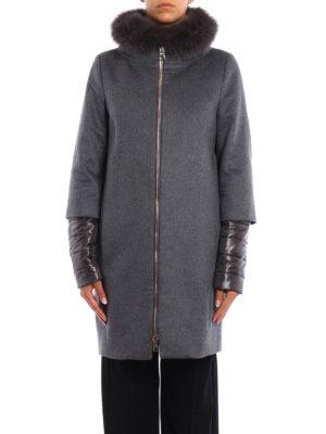Herno: knee length coats online - Fox fur trim cashmere double coat