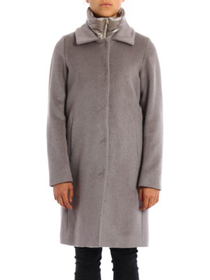 Herno: knee length coats online - Wool and angora double front coat