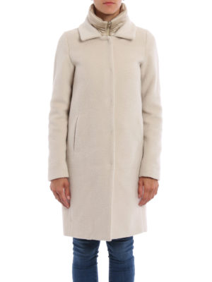 Herno: knee length dresses online - Wool and angora double front coat