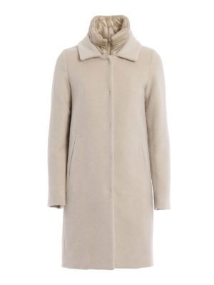 Herno: knee length dresses - Wool and angora double front coat
