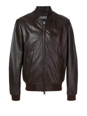 Herno: leather jacket - Brown napa leather bomber jacket