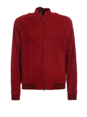 Herno: leather jacket - Dark red suede bomber