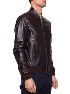 Herno: leather jacket online - Brown napa leather bomber jacket
