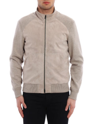 Herno: leather jacket online - Suede and cotton bomber jacket