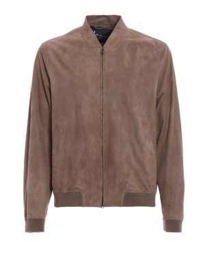 Herno: leather jacket - Soft nubuck leather bomber jacket