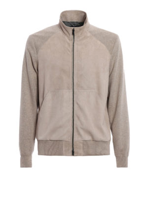 Herno: leather jacket - Suede and cotton bomber jacket