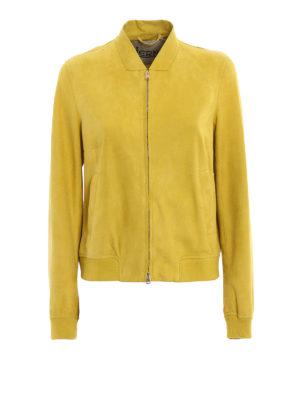 Herno: leather jacket - Suede bomber jacket