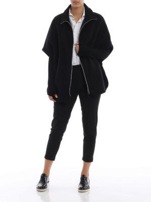 HERNO: Mantelle e poncho online - Cappa in panno di lana misto cashmere nera
