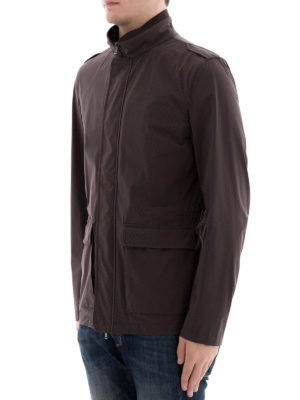 HERNO: giacche casual online - Giacca marrone in nylon stretch