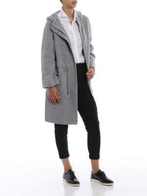HERNO: cappotti al ginocchio online - Cappotto in tessuto double di cashmere grigio