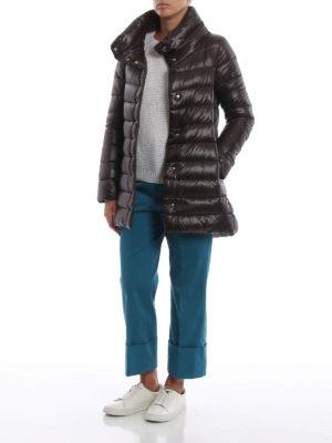 HERNO: cappotti imbottiti online - Piumino Amelia ultraleggero color cioccolato