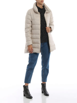 HERNO: cappotti imbottiti online - Piumino in cashmere e seta antigoccia beige