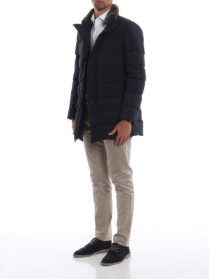 HERNO: cappotti imbottiti online - Piumino blu con collo in pelliccia di castoro