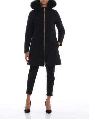 HERNO: cappotti imbottiti online - Cappotto nero City Glamour con pettorina
