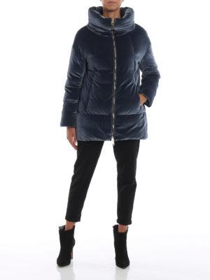 HERNO: cappotti imbottiti online - Piumino con collo a cratere in velluto blu