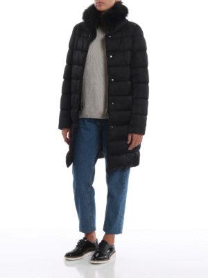 HERNO: cappotti imbottiti online - Piumino nero in tecno taffetà con pelliccia