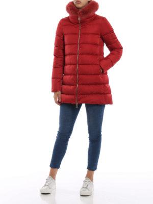 HERNO: cappotti imbottiti online - Piumino con bordo in pelliccia removibile