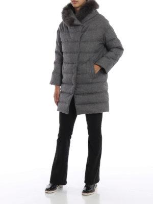 HERNO: cappotti imbottiti online - Piumino grigio in panno di seta e cashmere