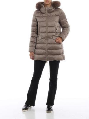 HERNO: cappotti imbottiti online - Piumino con bordo in volpe color tortora