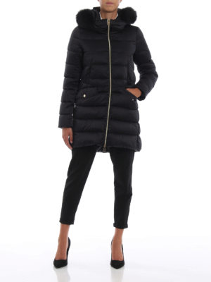 HERNO: cappotti imbottiti online - Piumino in tecno satin con bordo in volpe