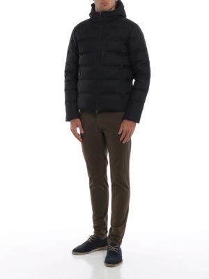 HERNO: giacche imbottite online - Piumino Laminar in nylon nero con cappuccio