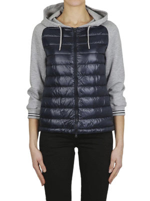 HERNO: giacche imbottite online - Piumino blu con maniche in cotone