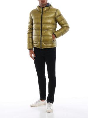 HERNO: giacche imbottite online - Piumino double color senape e blu scuro