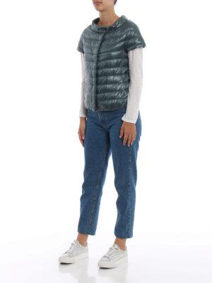 HERNO: giacche imbottite online - Piumino Emilia verde con maniche corte