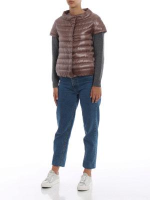 HERNO: giacche imbottite online - Piumino Emilia marrone rosato a maniche corte
