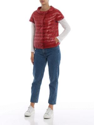 HERNO: giacche imbottite online - Piumino Emilia rosso con maniche corte