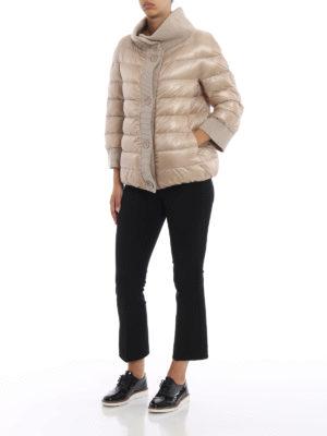 HERNO: giacche imbottite online - Piumino over in nylon con bordi in maglia