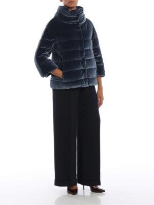 HERNO: giacche imbottite online - Piumino in velluto cangiante blu avio