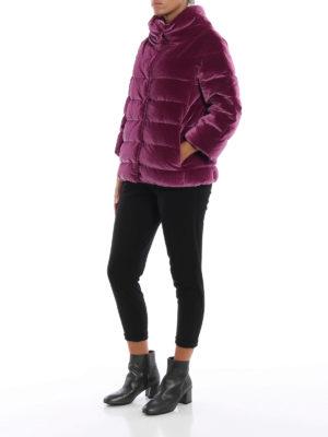 HERNO: giacche imbottite online - Piumino in velluto cangiante fucsia