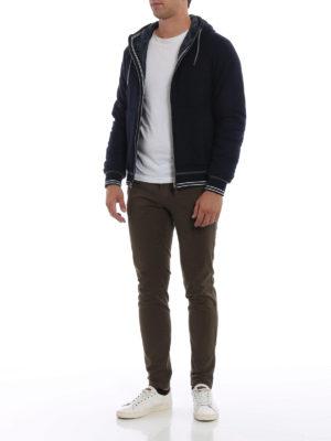 HERNO: giacche imbottite online - Felpa blu con zip e cappuccio imbottita