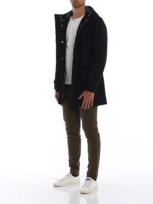HERNO: cappotti corti online - Cappotto in scuba blu con cappuccio