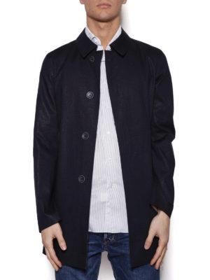 HERNO: cappotti trench online - Trench corto blu in tecnotessuto