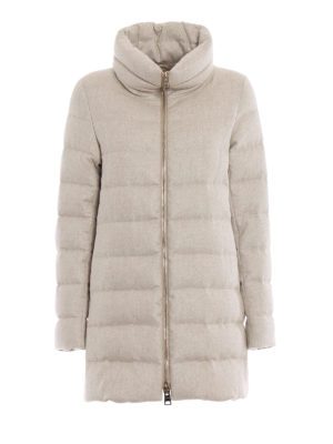 HERNO: cappotti imbottiti - Piumino in cashmere e seta antigoccia beige