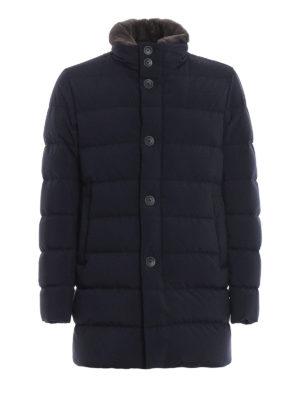 HERNO: cappotti imbottiti - Piumino blu con collo in pelliccia di castoro