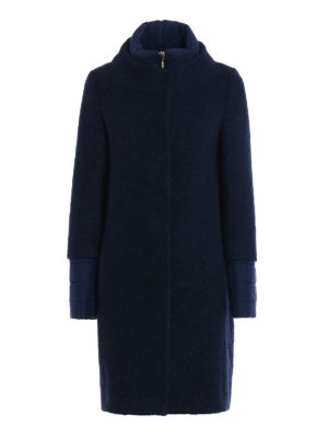 Herno: padded coats - Blue boucle wool padded coat