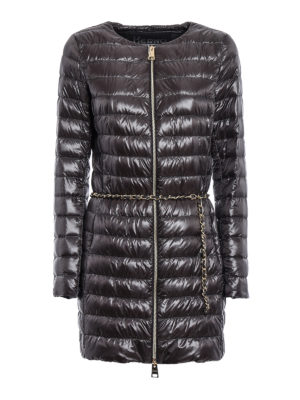 Herno: padded coats - Chain belt detailed puffer coat