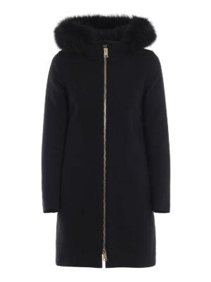 HERNO: cappotti imbottiti - Cappotto nero City Glamour con pettorina