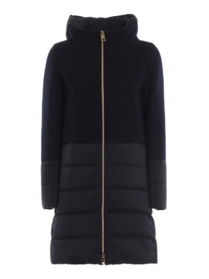 HERNO: cappotti imbottiti - Cappotto blu scuro Revival in lana e nylon