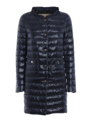 Herno: padded coats - Double front dark blue padded coat