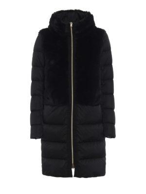 HERNO: cappotti imbottiti - Piumino in raso opaco e finta pelliccia