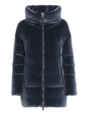 HERNO: cappotti imbottiti - Piumino con collo a cratere in velluto blu