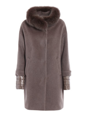 Herno: padded coats - Fur trim angora blend warm coat