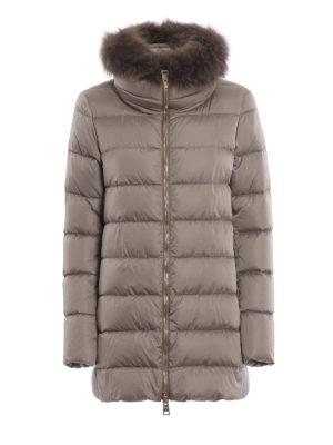 HERNO: cappotti imbottiti - Piumino corto beige con pelliccia e zip